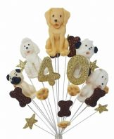Dog 40th birthday cake topper decoration - free postage